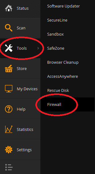 Menu selection: Tools->Firewall